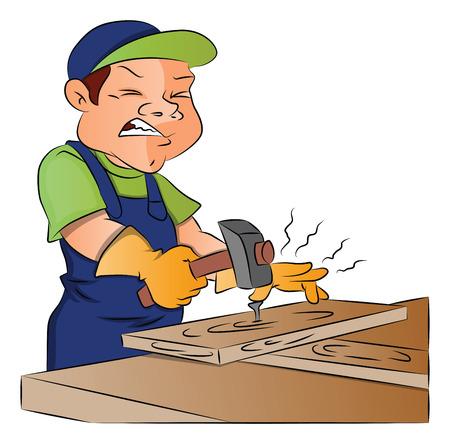 Vector illustration of male carpenter hammering a nail into wooden plank. Ilustração