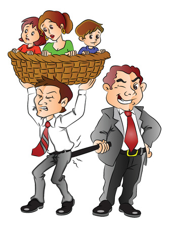 Vector illustration of boss pulling back employee who is trying to escape for his family. Illustration