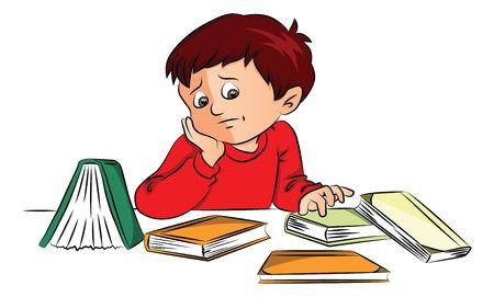 Vector illustratie van verveelde kleine jongen met boeken op het bureau.