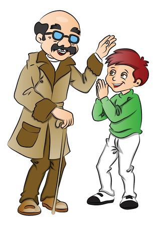 respect: Vector illustration of happy old man blessing a cute little boy.