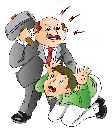 Vector illustration of aggressive boss hitting his employee.