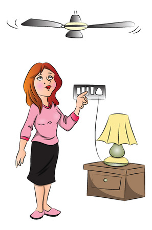 switch plug: Vector illustration of woman turning on electric fan.