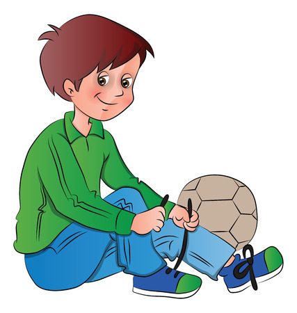 Vector illustration of boy tying shoelace next to football.