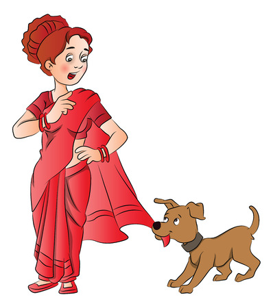 Vector illustration of woman telling cute puppy to leave her saree.