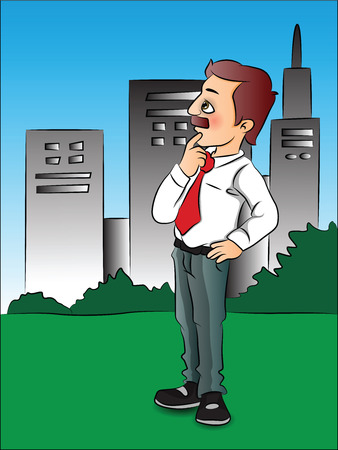 Vector illustration of thoughtful businessman standing in front of city buildings. Illustration