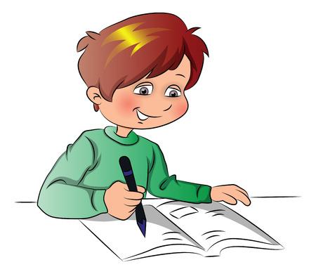 Vector illustration of happy schoolboy writing in book.