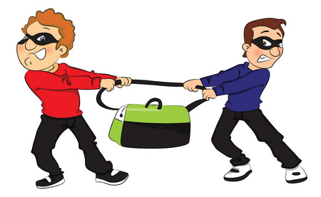 Vector illustration of two thieves pulling a stolen bag in opposite direction. Stock Illustratie