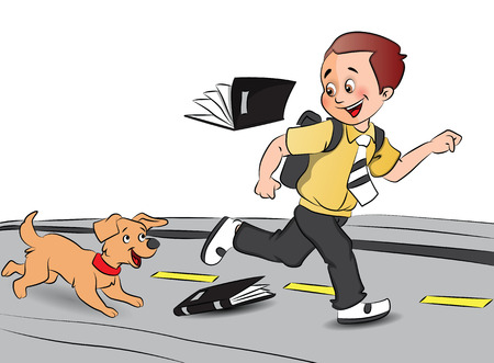 Vector illustration of a happy schoolboy running in excitement with pet dog after his exams. Çizim