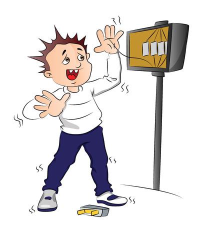 descarga electrica: Ilustración del vector del hombre que recibe una descarga eléctrica después de un cortocircuito en la caja de fusibles. Vectores