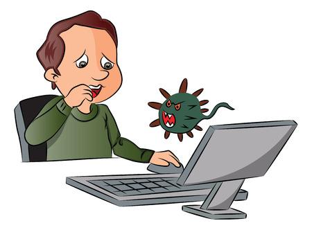 virus informatico: Ilustración vectorial del hombre asustado al ver el ataque de virus durante el uso de la computadora. Vectores