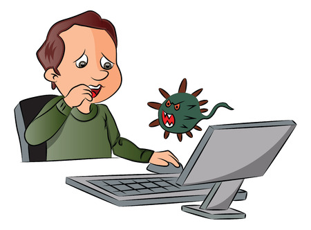 Vector illustration of man scared by looking at virus attack while using computer. Иллюстрация
