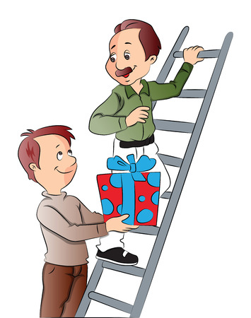giving gift: Vector illustration of boy giving gift to his father who his climbing ladder.