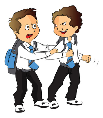 and two friends: Vector illustration of angry schoolboy pulling his friend back.
