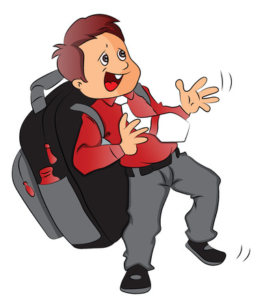 oversized: Vector of schoolboy struggling to carry heavy and oversized schoolbag. Illustration
