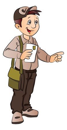 Vector illustration of postman holding a letter and pointing. Ilustração
