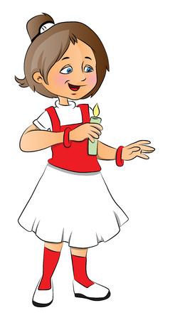 lit: Vector illustration of happy girl holding a lit candle. Illustration