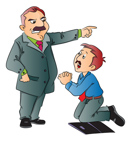begging: Vector illustration of junior executive begging for work in front of his boss. Illustration