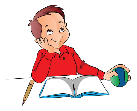 Vector illustration of a happy boy dreaming with ball, book and pencil on desk. Vectores