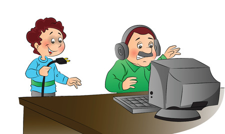 naughty: Vector illustration of man angrily looking at computer while naughty boy has unplugged the system. Illustration