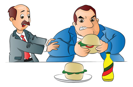 indulgence: Vector illustration of a man stopping a fat friend from eating unhealthy hamburger. Illustration
