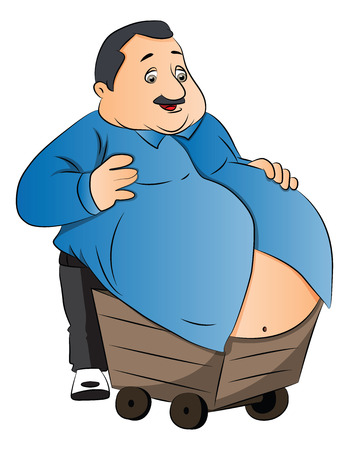 Vector illustration of an obese man carrying his fat stomach on wheelcart. Çizim