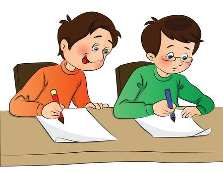 Vector illustratie van de jongen het kopiëren van papieren andere student tijdens het onderzoek.