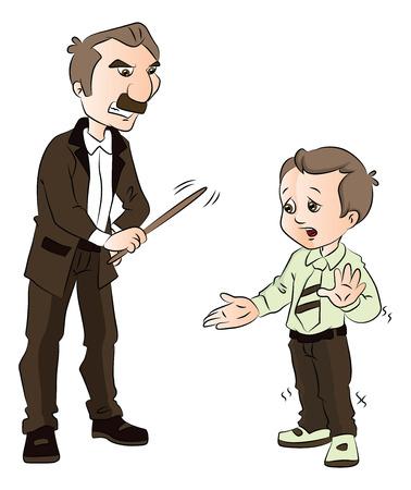 Vector illustratie van een mannelijke leraar verslaan schoolkind met stok.