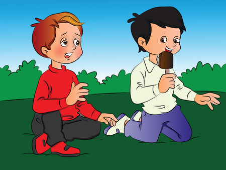 indulgence: Vector illustration of a boy teasing his friend for ice cream. Illustration