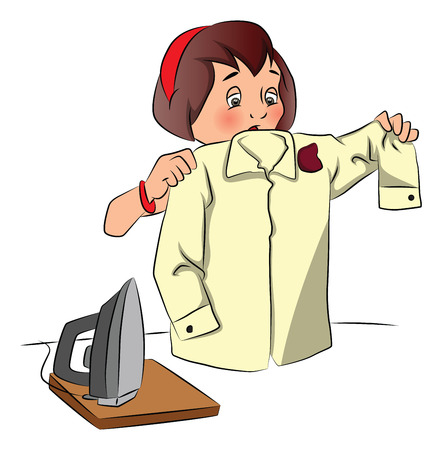tore: Vector illustration of shocked woman looking shirt burnt while ironing..