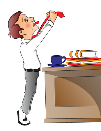 overworked: Vector illustration of overworked businessman pulling his necktie, teacup with files on office desk. Illustration