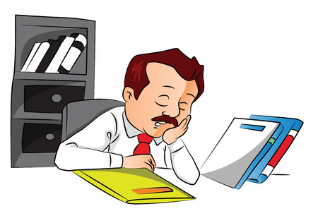tired businessman: Vector illustration of tired employee sleeping with files on office desk.