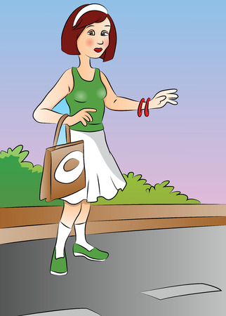 plant stand: Vector illustration of a beautiful woman hitchhiking at roadside.
