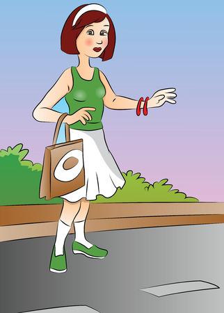 roadside: Vector illustration of a beautiful woman hitchhiking at roadside.