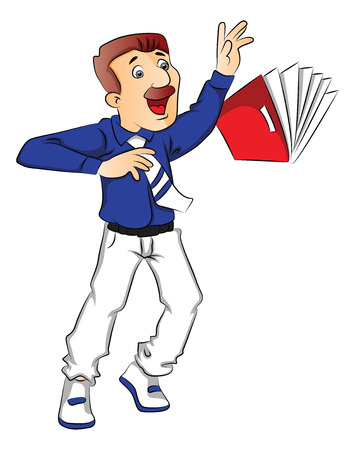 Vector illustration of shocked businessman struggles to hold a falling file.
