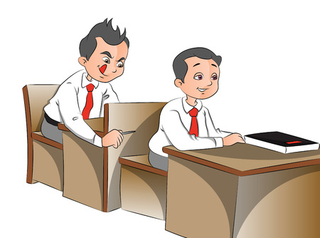 child sitting: Vector illustration of schoolboys looking with curiosity. Illustration