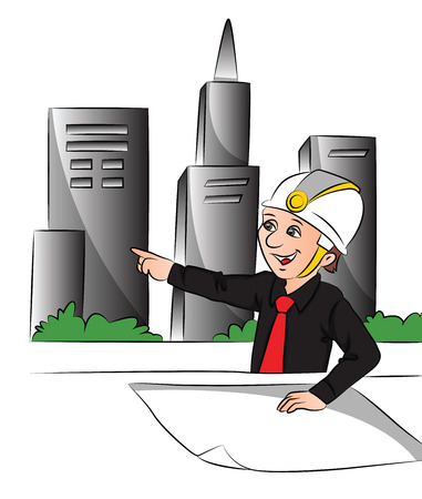 architect drawing: Vector illustration of happy architect with blueprint pointing at site.