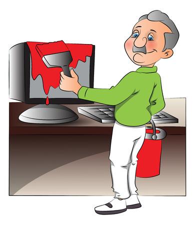 hombre pintando: Ilustraci�n vectorial de un ordenador pintura del hombre.
