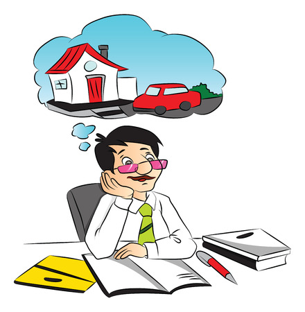 Vector illustration of businessman dreaming about a new home and car while working at office. Vector