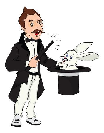 dessin magicien vector illustration du magicien tirant lapin de son chapeau