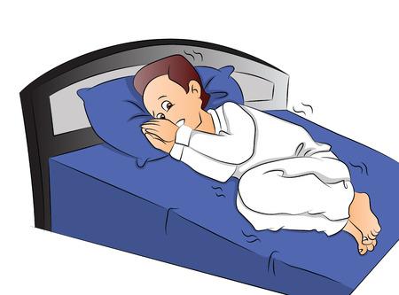 Vector illustration of frightened boy in bed. Иллюстрация