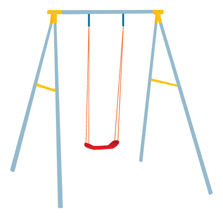 swing set: Children swing set, outdoor play. Illustration