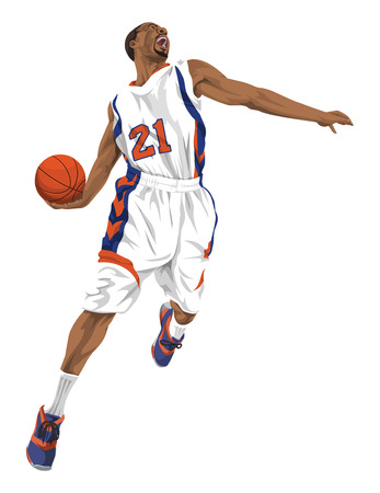 Vector illustration of aggressive basketball player going for a slam dunk.