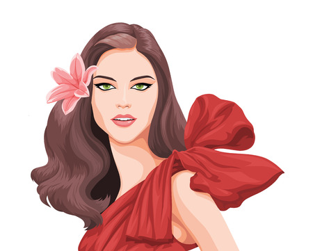 wavy hair: Vector illustration of stylish and beautiful young woman with flower in her hair.