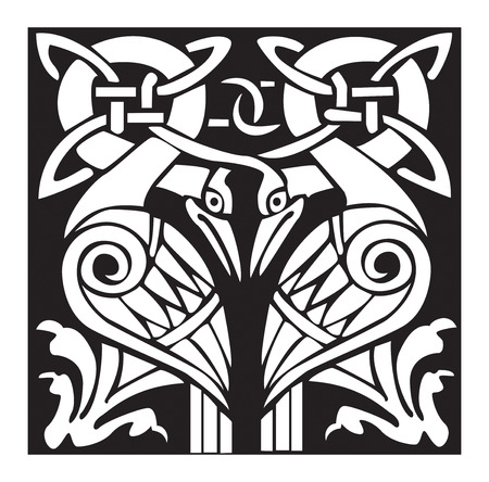 A illustration of a dual Celtic bird