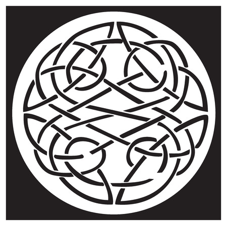 A celtic knot and pattern in a circle design, inside a black square. Great for artwork or tattoo Illustration