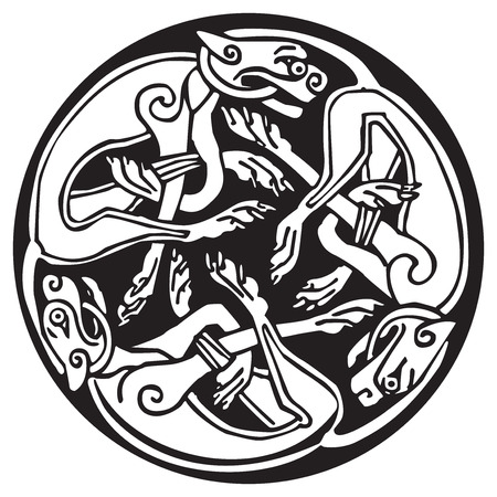 Celtic design of a three dogs biting their tails, intertwined, inside a circle with knots design. Great for artwork or tattoo