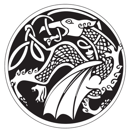 celtic symbol: A druidic astronomical symbol of a dragon, in a circle pattern artwork, isolated against a white