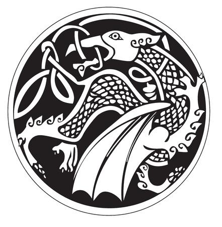 Een druidic astronomische symbool van een draak, in een cirkel patroon kunstwerk, geïsoleerd tegen een witte
