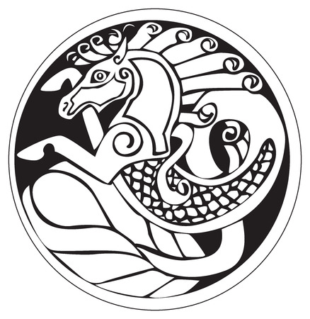 celt: A druidic astronomical symbol of a unicorn or water horse, in a circle pattern artwork, isolated against a white