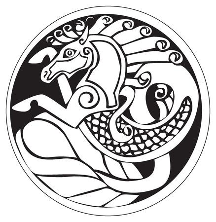 celtic: Un simbolo druidico astronomico di un cavallo unicorno o acqua, in un opera d'arte cerchio pattern, isolato su uno bianco Vettoriali